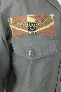 Vintage Army Jacket Reclaimed With Hermes Eperon d'Or Silk Scarf