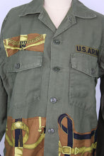 Load image into Gallery viewer, Vintage Army Jacket Reclaimed With Hermes Eperon d'Or Silk Scarf