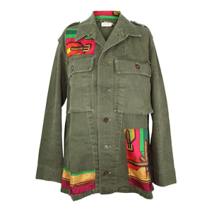 Vintage Army Jacket Reclaimed With Hermes Sangles Silk Scarf