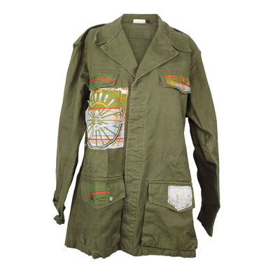 Vintage Army Jacket Reclaimed With Hermes Locomotive a Vapeur Silk Scarf