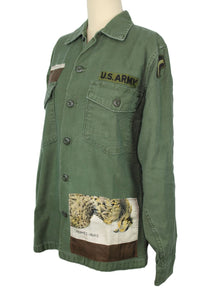 Vintage Army Jacket Reclaimed With Hermes Belle Chasse Silk Scarf
