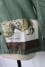Load image into Gallery viewer, Vintage Army Jacket Reclaimed With Hermes Belle Chasse Silk Scarf