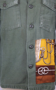 Vintage Army Jacket Reclaimed With Hermes Cliquetis Silk Scarf