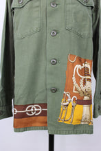 Load image into Gallery viewer, Vintage Army Jacket Reclaimed With Hermes Cliquetis Silk Scarf