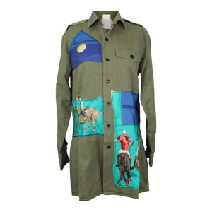 Vintage Army Jacket Reclaimed With Hermes Le Monde Du Polo Silk Scarf