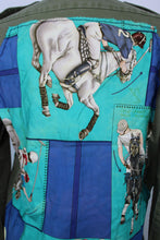 Load image into Gallery viewer, Vintage Army Jacket Reclaimed With Hermes Le Monde Du Polo Silk Scarf