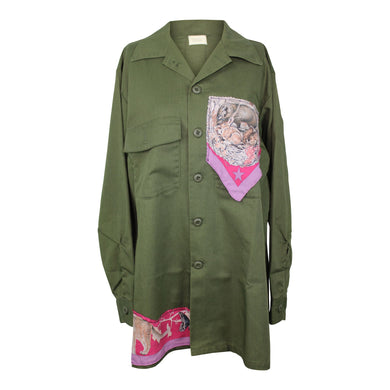 Vintage Army Jacket Reclaimed With Hermes Faune et Flore du Texas Silk Scarf