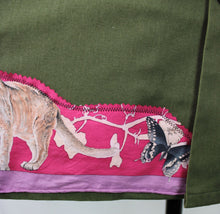 "Load image into Gallery viewer, Vintage Army Jacket Reclaimed With Silk ""Faune et Flore du Texas"" Scarf"