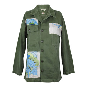 Vintage Army Jacket Reclaimed With Hermes Tahiti Silk Scarf