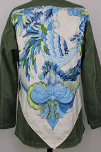 Load image into Gallery viewer, Vintage Army Jacket Reclaimed With Hermes Tahiti Silk Scarf