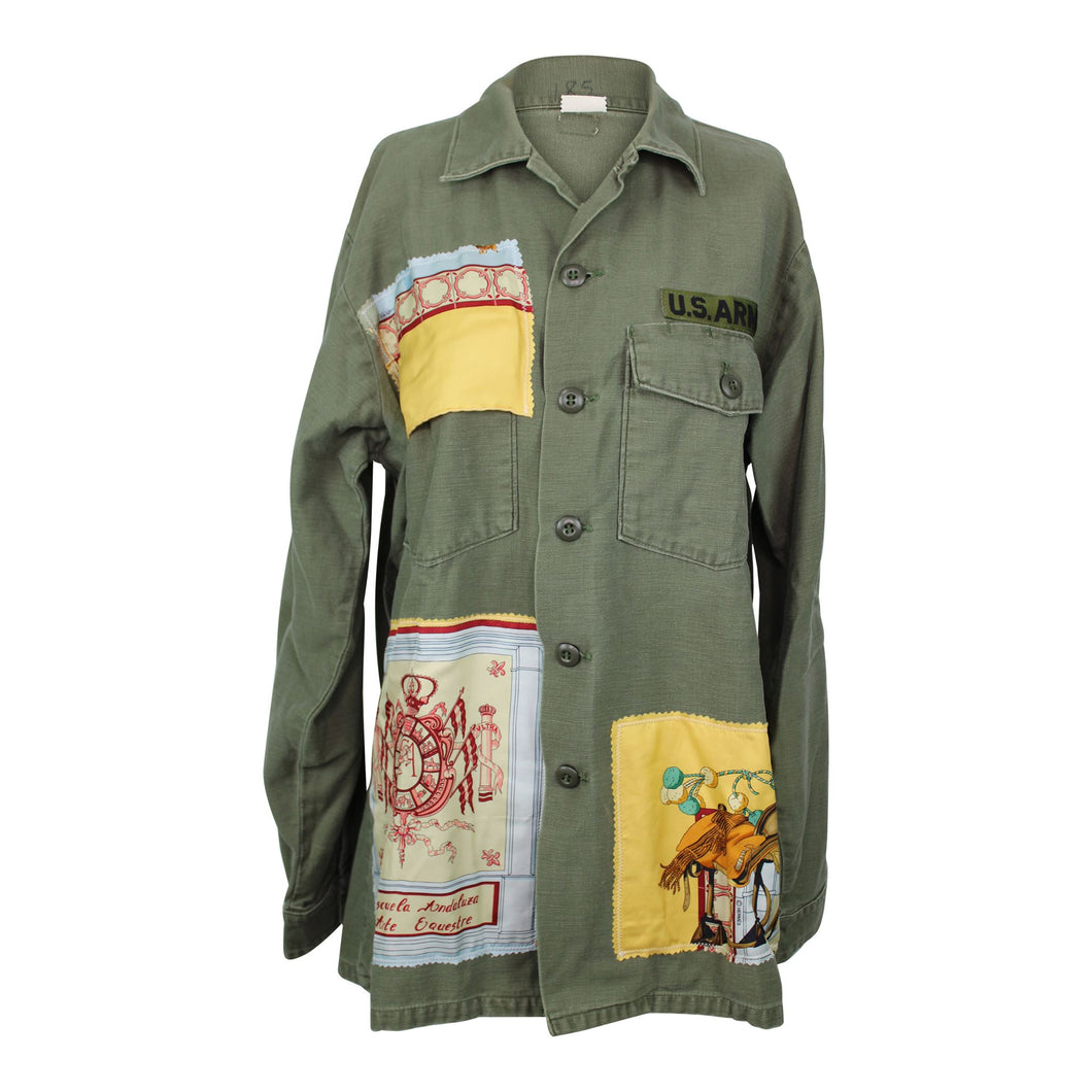 Vintage Army Jacket Reclaimed With Hermes Real Escuela Andaluza Silk Scarf