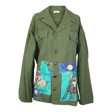 Vintage Army Jacket Reclaimed With Hermes Les Rubans Du Cheval and Le Monde Du Polo