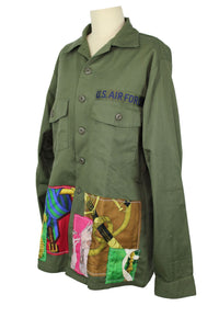 Vintage Army Jacket Reclaimed With Applique From Six Different Hermes Scarves