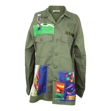 Vintage Army Jacket Reclaimed With Applique From Three Different Hermes Scarves