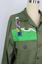 Load image into Gallery viewer, Vintage Army Jacket Reclaimed With Applique From Three Different Hermes Scarves