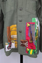 Load image into Gallery viewer, Vintage Army Jacket Reclaimed With Applique From Five Different Hermes Scarves