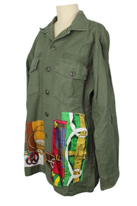 Vintage Army Jacket Reclaimed With Applique From Five Different Hermes Scarves