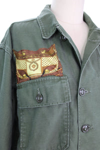 Vintage Army Jacket Reclaimed With Hermes Springs Scarf