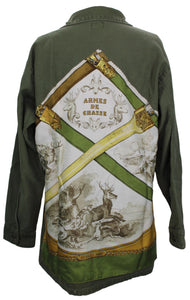 Vintage Army Jacket Reclaimed With Hermes Armes De Chasse Scarf