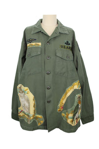 Vintage Army Jacket Reclaimed With Hermes Les Oiseaux Du Roy Scarf