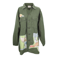 Load image into Gallery viewer, Vintage Army Jacket Reclaimed With Hermes Sauvagine en Vol Scarf