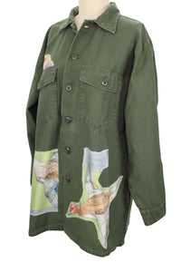 Vintage Army Jacket Reclaimed With Hermes Sauvagine en Vol Scarf