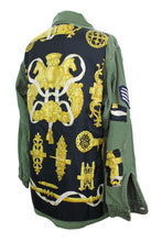 Load image into Gallery viewer, Vintage Army Jacket Reclaimed With Hermes Ferronnerier Scarf