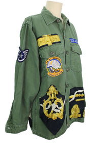 Vintage Army Jacket Reclaimed With Hermes Ferronnerier Scarf