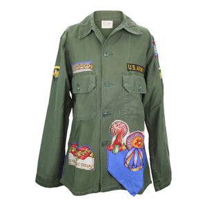 Vintage Army Jacket Reclaimed With Hermes Les Rubans du Cheval Scarf