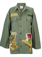 "Load image into Gallery viewer, Vintage Army Jacket Reclaimed With Silk ""Grand Uniforme"" Scarf"