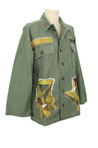 "Vintage Army Jacket Reclaimed With Silk ""Grand Uniforme"" Scarf"
