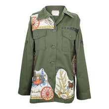 Load image into Gallery viewer, Vintage Army Jacket Reclaimed With Hermes L'Hiver en Poste Scarf