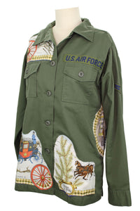 Vintage Army Jacket Reclaimed With Hermes L'Hiver en Poste Scarf