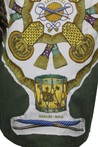 Vintage Army Jacket Reclaimed With Hermes Les Tambours Scarf
