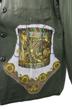 Load image into Gallery viewer, Vintage Army Jacket Reclaimed With Hermes Les Tambours Scarf