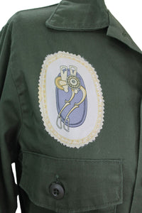 Vintage Army Jacket Reclaimed With Hermes La Presentation Scarf