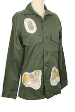 Load image into Gallery viewer, Vintage Army Jacket Reclaimed With Hermes La Presentation Scarf