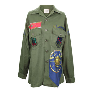 "Vintage Army Jacket Reclaimed With Silk ""Springs"" Scarf"