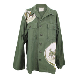 Vintage Army Jacket Reclaimed With Hermes Avenue des Acacias Scarf