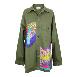 Vintage Army Jacket Reclaimed With Hermes Etendards et Bannieres Scarf