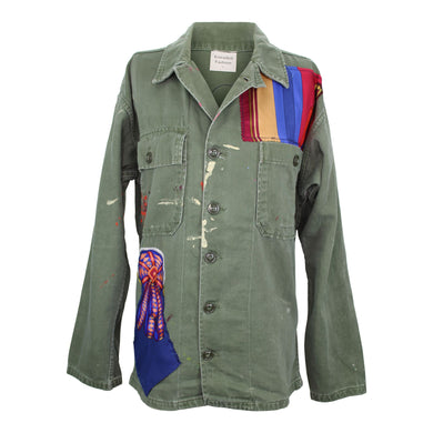 Vintage Army Jacket Reclaimed With Applique From Three Silk Scarves
