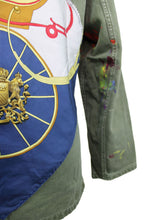 Load image into Gallery viewer, Vintage Army Jacket Reclaimed With Applique From Three Hermes Scarves