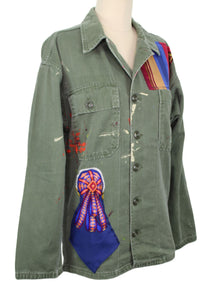Vintage Army Jacket Reclaimed With Applique From Three Hermes Scarves