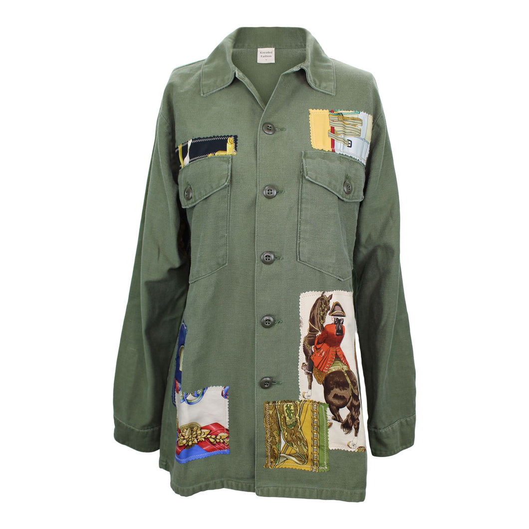 Vintage Army Jacket Reclaimed With Appliqué From Seven Different Hermes Scarves