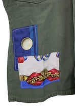 Load image into Gallery viewer, Vintage Army Jacket Reclaimed With Appliqué From Seven Different Hermes Scarves