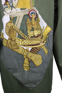 Vintage Army Jacket Reclaimed With Appliqué From Five Different Hermes Scarves