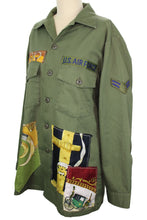 Load image into Gallery viewer, Vintage Army Jacket Reclaimed With Appliqué From Five Different Hermes Scarves