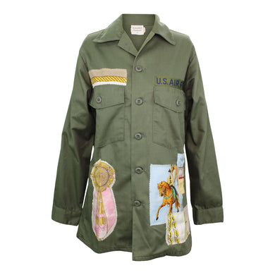 Vintage Army Jacket Reclaimed With Appliqué From Five Different Silk Scarves