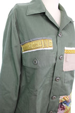 Load image into Gallery viewer, Vintage Army Jacket Reclaimed With Appliqué From Seven Different Silk Scarves