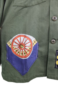 Vintage Army Jacket Reclaimed With Appliqué From Seven Different Silk Scarves